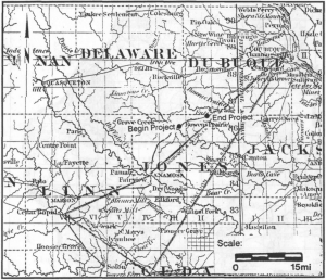 1851 Map Showing Bowen's Prairie