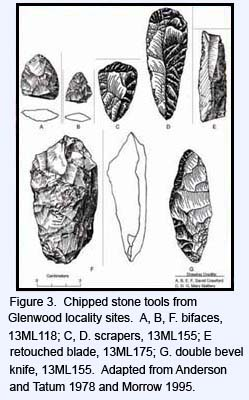 Chipped stone tools from Glenwood locality sites.