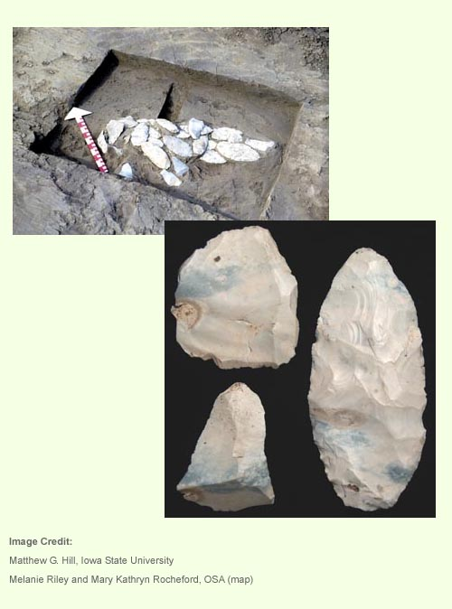 Photograph of stone tools from the Carlisle Cache, as well as an image of the site.