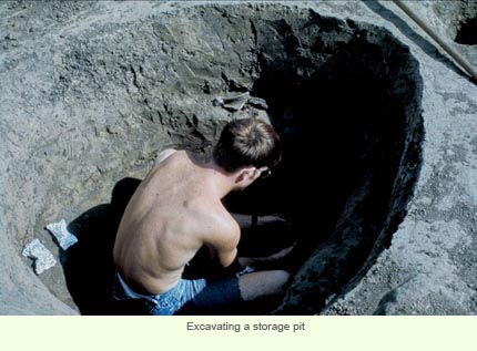 Excavating a storage pit