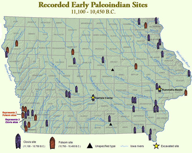 Map of Iowa showing recorded early Paleoindian sites (11,100 - 10,450 B.C.): The Carlisle Cache and Rummells-Maske site are highlighted