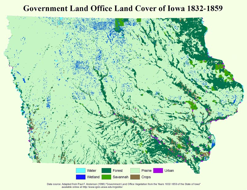 Government Land Office Land Cover of Iowa 1832-1859
