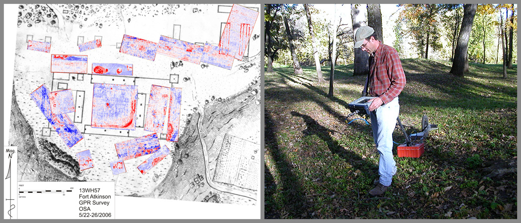OSA Archaeologist Bill Whittaker conducting GPR Survey