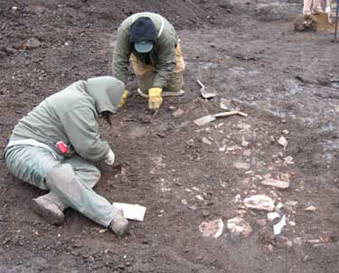 Digging a Feature from the Eagle Pottery Works