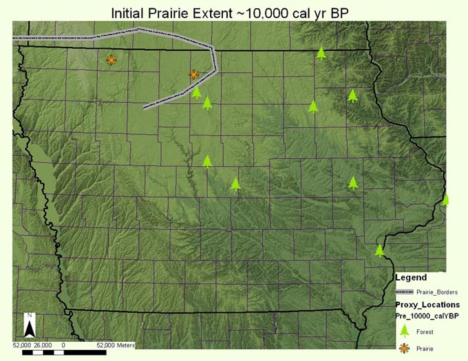Map of the initial prairie extent ~10,000 calendar year B.P.
