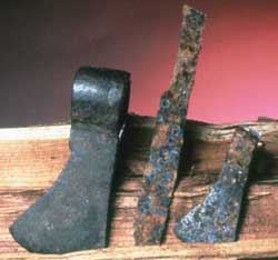 Iron knife and trade axes