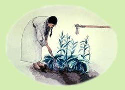 Watercolor of a Native American Woman Cultivating with a Hoe