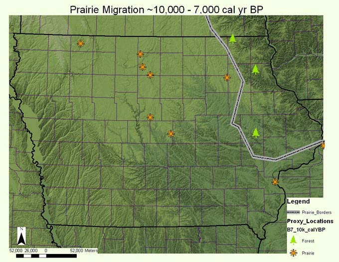 Map of the prairie migration ~10,000 - 7,000 calendar year B.P.