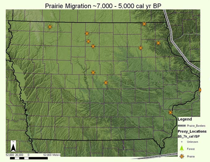 Map of the prairie migration ~5,000 - 2,000 calendar year B.P.