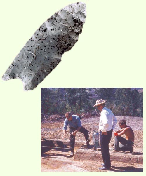 Photograph of an artifact from the Rummells-Maske site, as well as a photo of the excavation.