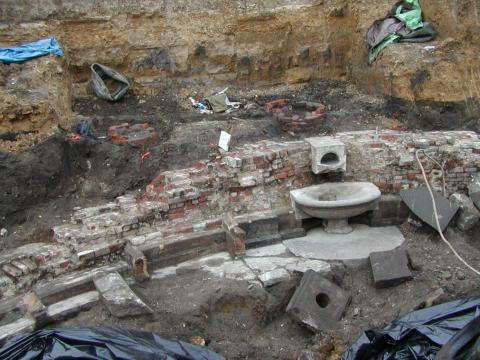 The excavated fountain in 2005