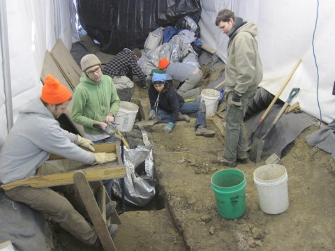 Excavating inside a tent