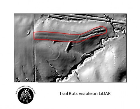 Trail ruts visible on LiDAR