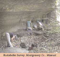 Rockshelter Survey, Montgomery County, Missouri