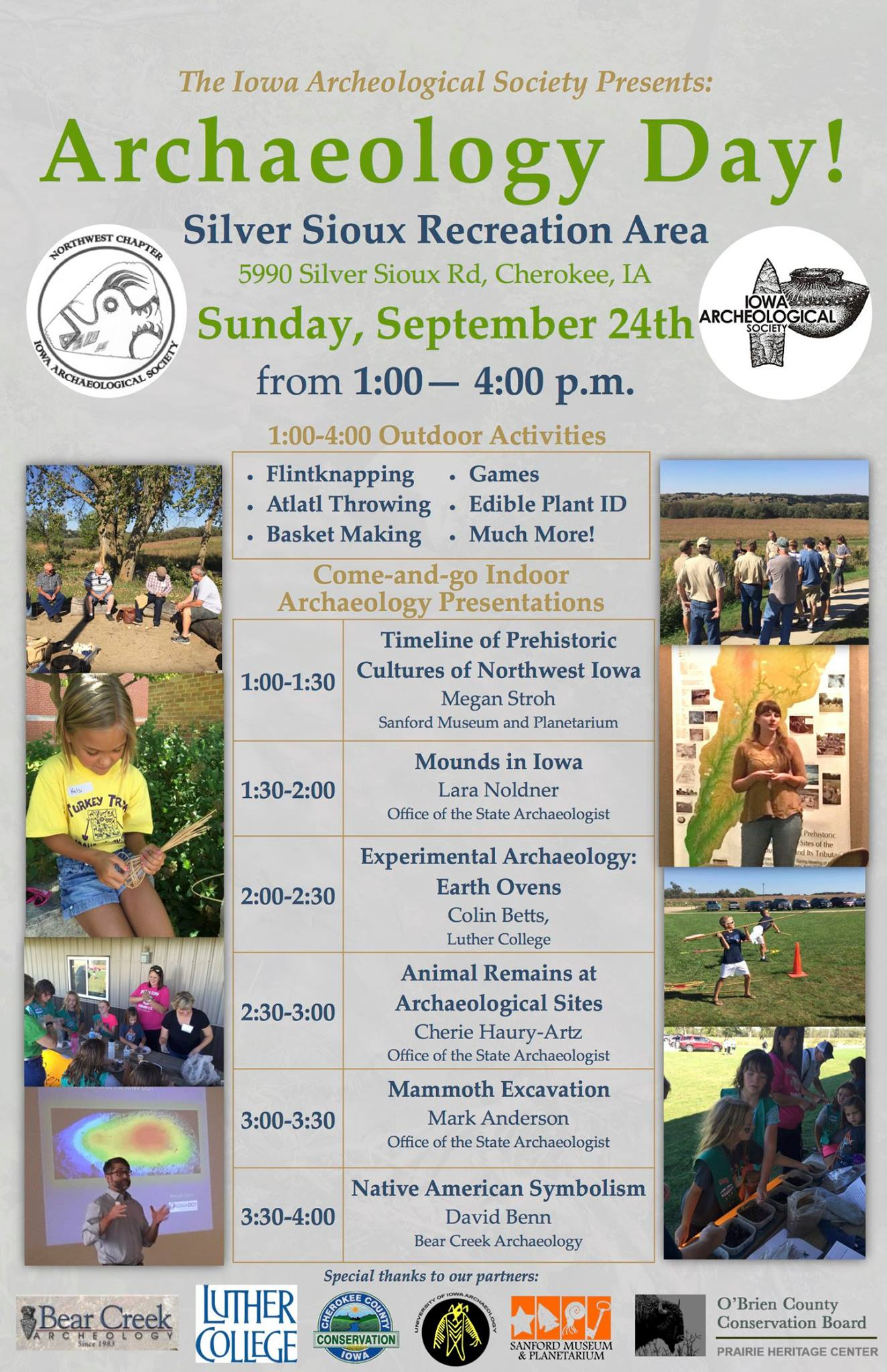 Promotional flyer for Little Sioux River Archaeology Day