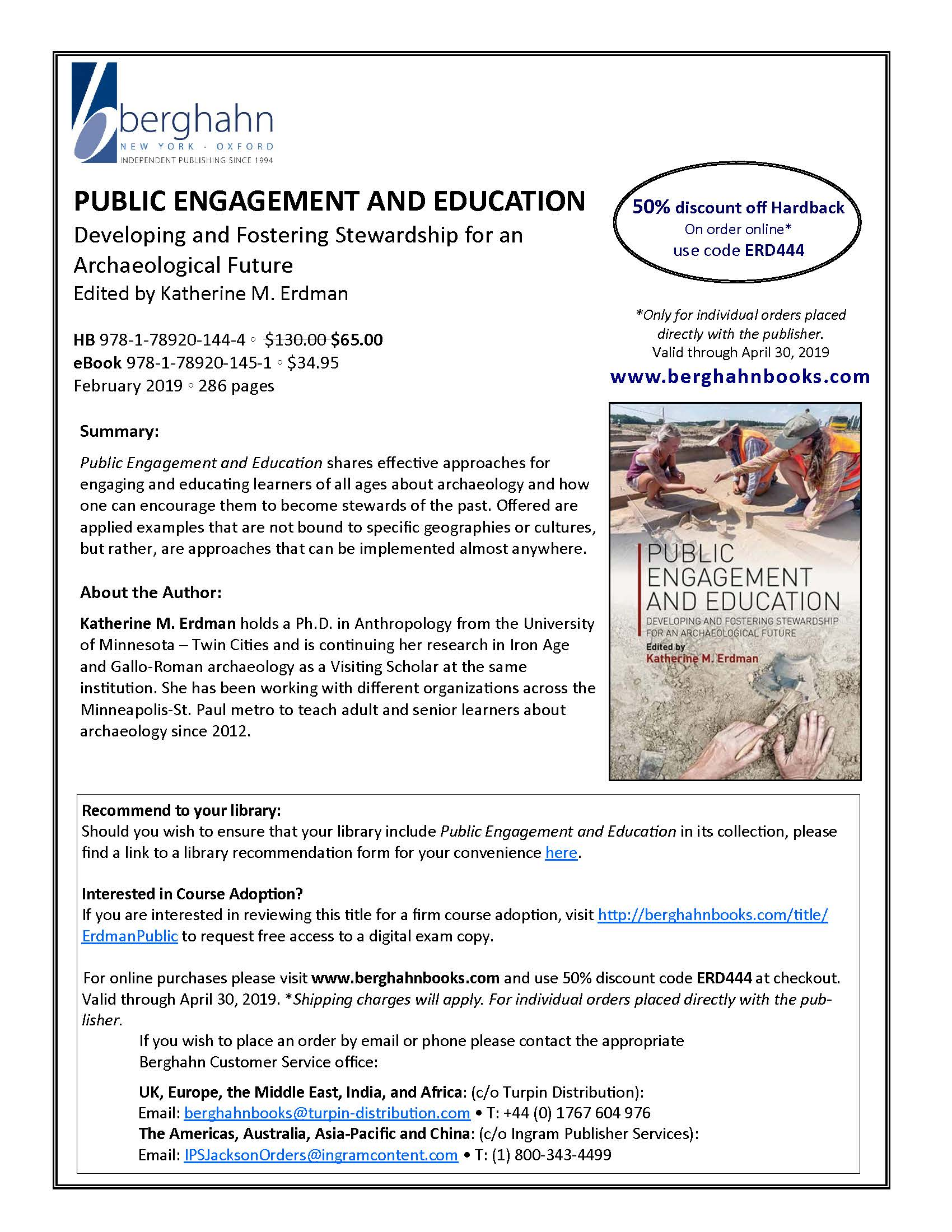 Promotional Flyer for the Book Public Engagement and Education
